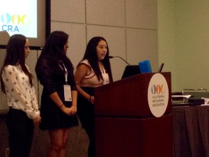 Jacqueline R (R), Kiara M. and Maria R. address the CRAEF Board and thanked them for receiveing scholarships.