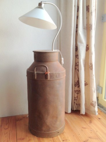 Milk churn lamp at Balebarn Lodge