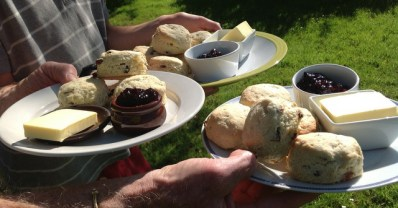 Welcome scones at Wheatland Farm Eco Lodges