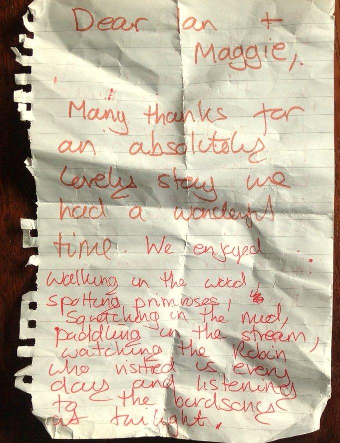Thank you note for Nuthatch Eco Lodge, Wheatland Farm, Devon