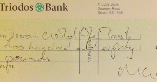 Cheque for the Devon Wildife Trust