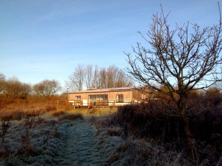 Balebarn Lodge at Wheatland Farm's Devon ecolodges on a frosty morning 2017