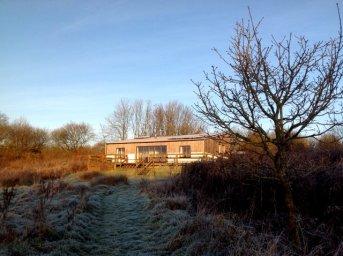 Wheatland Farm's Balebarn eco lodge, on a frosty morning