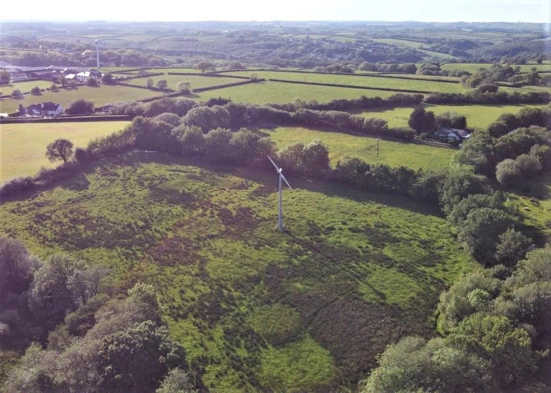 Aerial view of the Wheatland Farm turbine field, June 2021