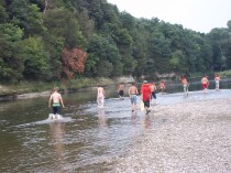 scouts, playing in the river