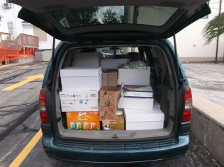 Donations filled the trunk
