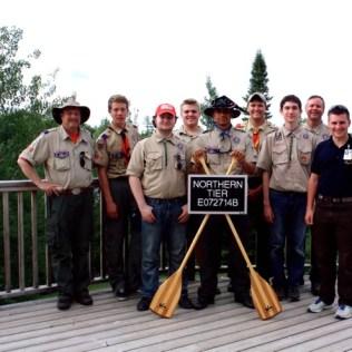 Charlie H., Mark H., Adam K., Steven S,, Anthony S., Scott F (Troop 23), Will B., John B., and Northern Tier interpreter Sean.