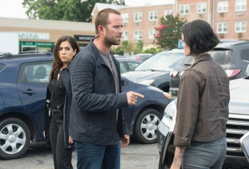 "BLINDSPOT -- ""Eight Slim Grins"" Episode 103 -- Pictured: (l-r) Audrey Esparza as Tasha Zapata, Sullivan Stapleton as Kurt Weller, Jaimie Alexander as Jane Doe -- (Photo by: JoJo Whilden/NBC)"