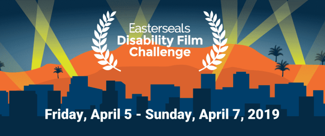Easterseals Disability Film Challenge logo with film festival feathers against a city skyline backdrop and orange and blue sky.