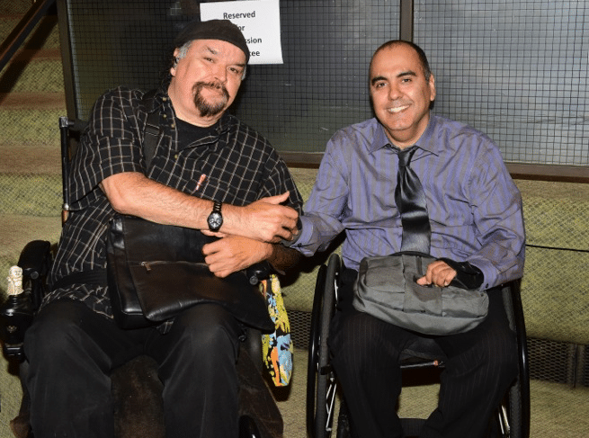 Carlos and Ray in their wheelchairs