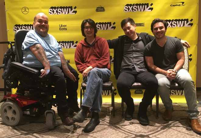 Asta Philpot, Richard Wong, Hayden Szeto, and Grant Rosenmeyer seated in front of yellow SXSW banner