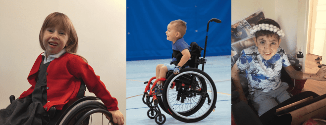 A little girl in a read sweater in her wheelchair, a little boy in his wheelchair playing in a gym, and a little boy with giant congenital nevi and neurocutaneous melanosis sits in a chair
