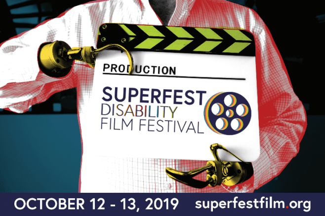 "Two hook hands holding a clapperboard that reads, ""Production, Superfest Disability Film Festival."""