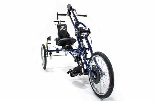 Charlie's handcycle with Tampa Bay Lightning logos on the backrest and front area.