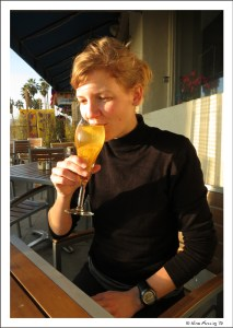 Glass of white sangria on Venice Beach