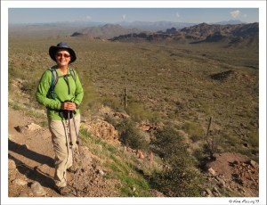 Lu poses on the Pass Mountain Trail at Usery