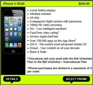 The iPhone 5 starts at $650