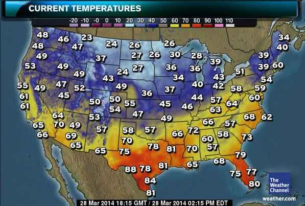 Current Temperature Us Map - Current us weather
