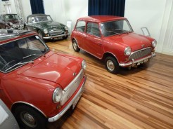 The heritage models that went before today's MGs are remembered in Longbridge's small on-site museum. Seen here are two Minis and a 'Big Healey'.