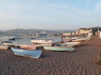We arrived in the Teignmouth/Shaldon area as the sun was starting to set, and this shot (taken on the Teignmouth side of the Teign estuary) shows the boats on the beach catching the evening sunlight.