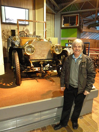 Yours truly in front of one of my favourite exhibits in the National Motor Museum, the 1903 shaft-driven 60HP 9.2 litre Mercedes. This was one of the fastest and most advanced motor cars of its era, and my grandfather used to drive one in Wiltshire in about 1910. The car was capable of a top speed of 75 mph. It is believed that there are only five surviving examples in the world.