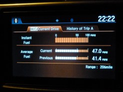 The car's on-board 'trip' computer provided useful information displays – easy to read, day and night.