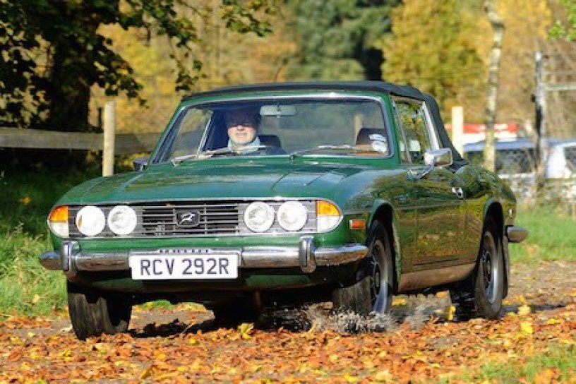 Julian Leyton at the wheel of his own much-loved Stag.