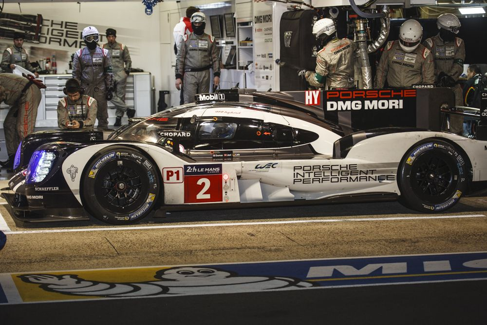 The winning No. 2 Porsche 919 Hybrid in the pits during practice.