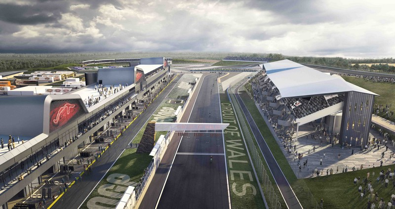 An impression of the start line area of the proposed Circuit of Wales