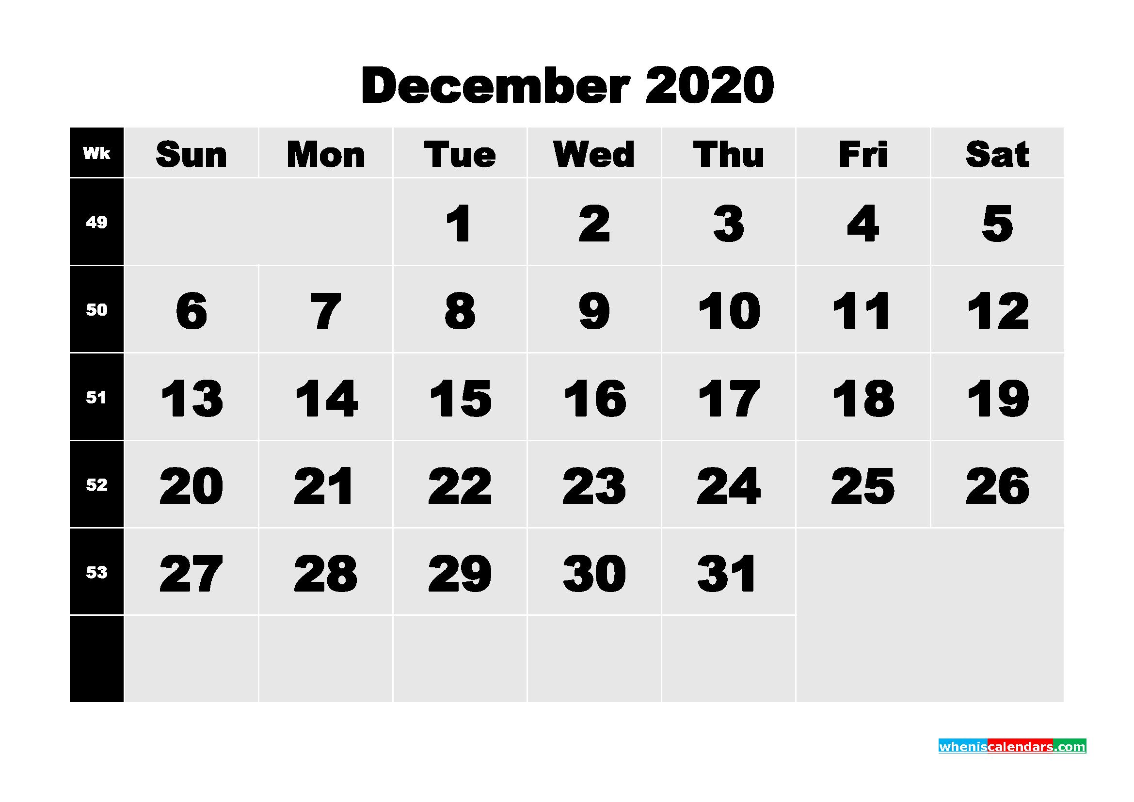 Printable Monthly Calendar With Week Numbers December
