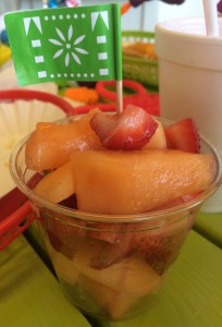The fruit cup that day was cantaloupe and strawberries.