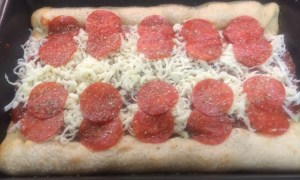 Here is my pizza ready to go in the oven.