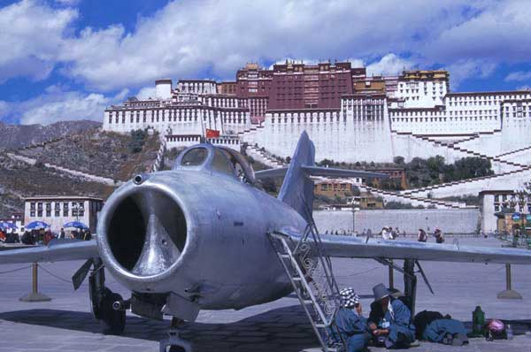 Chinese MIG in front of Potala Palace, Lhasa, parked on the former reflecting pool