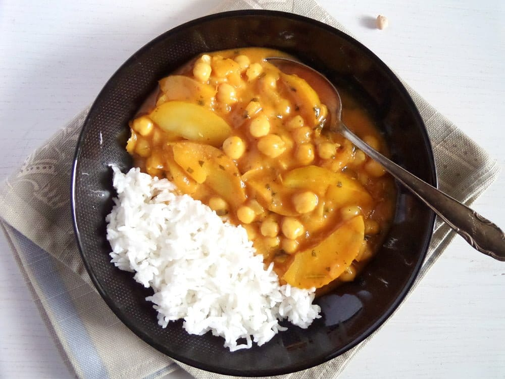 apple chickpea curry Somali Corn in Coconut Turmeric Sauce