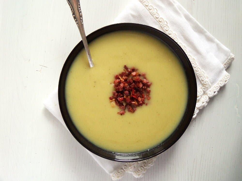 jerusalem artichoke sunchok Sunchoke Soup with Bacon Topping