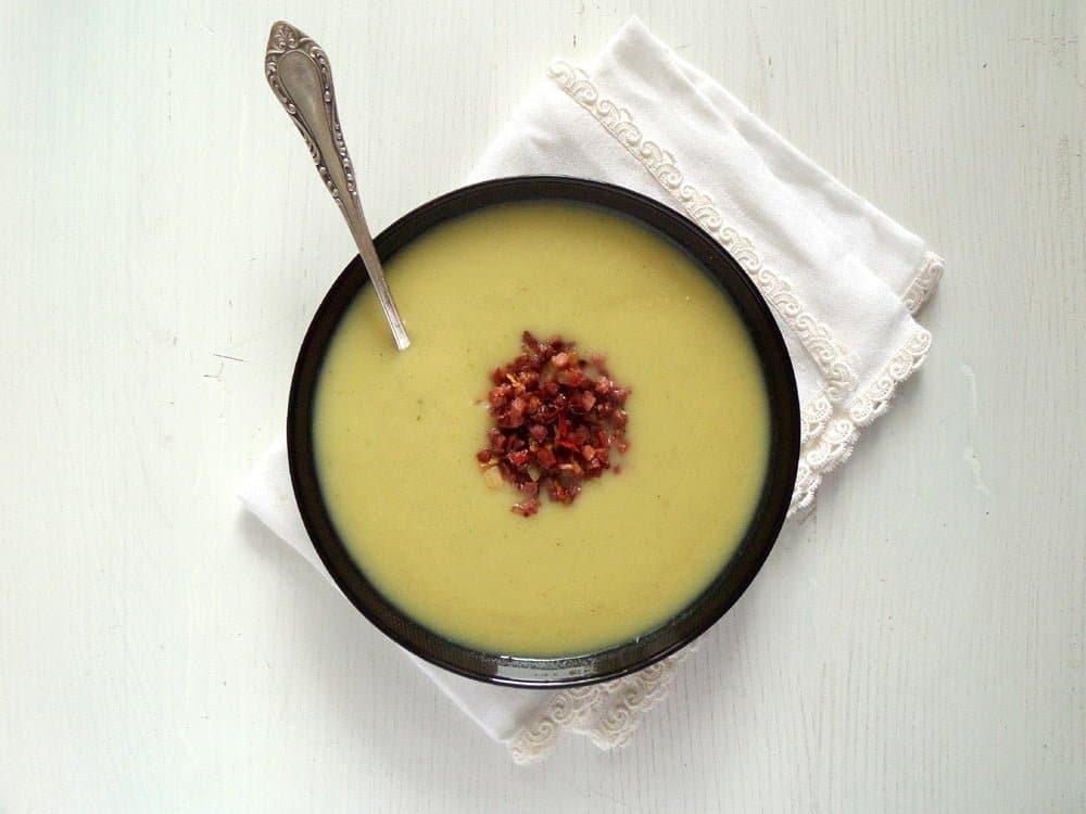 jerusalem sunchoke soup Creamy Sunchoke Soup with Sambal Oelek Bacon Topping