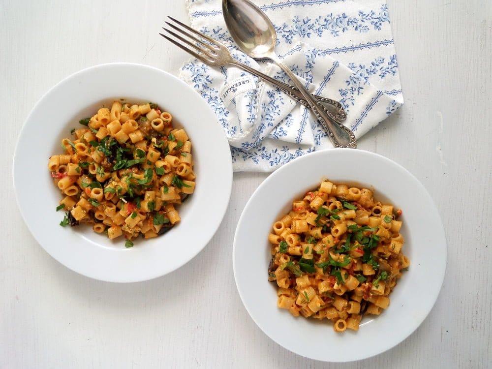 pasta veg eggplant Pasta with Eggplant Tomato Sauce
