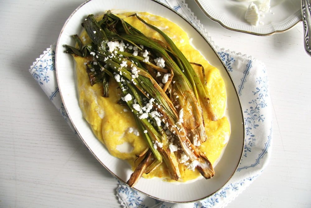 spring onions cheese roaste Roasted Green Onions on Creamy Polenta