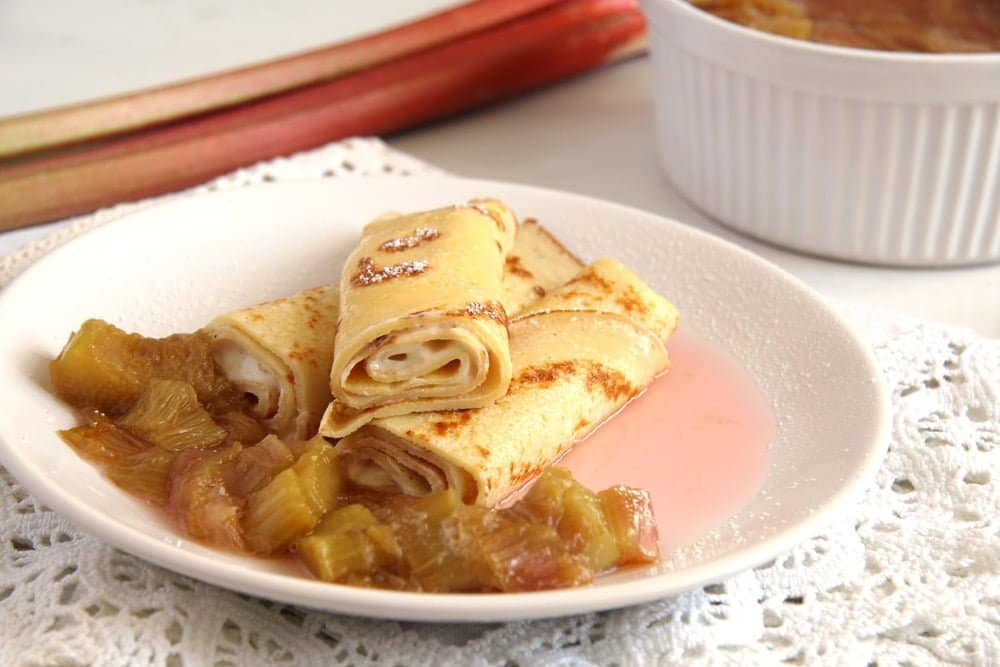 crepes rhubarb Fluffy Oven Pancakes with Strawberry Honey Sauce