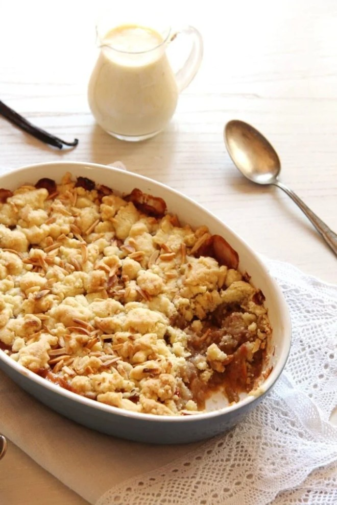 rhubarb apple crumble 683x1024 Easy and Comforting Rhubarb Apple Crumble with Almonds