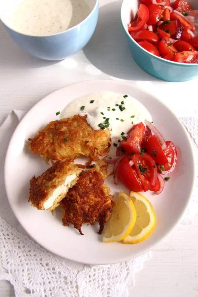 schnitzel potatoes 683x1024 Chicken Schnitzel with Potato Parmesan Crust