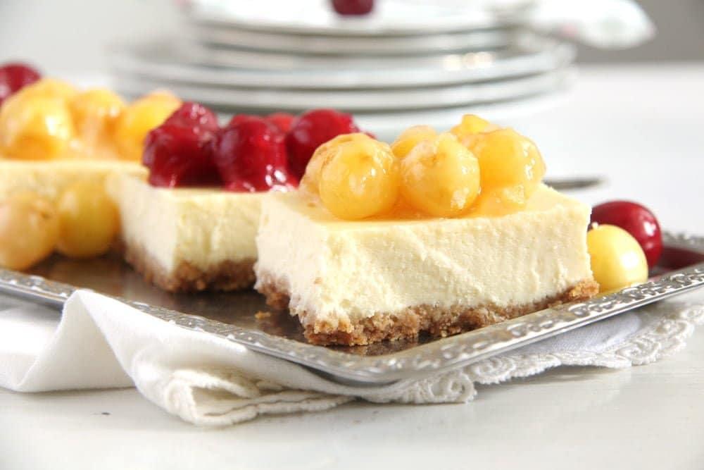 cherry cheesecake cream che Creamy Cheesecake with Fresh Cherry Pie Filling