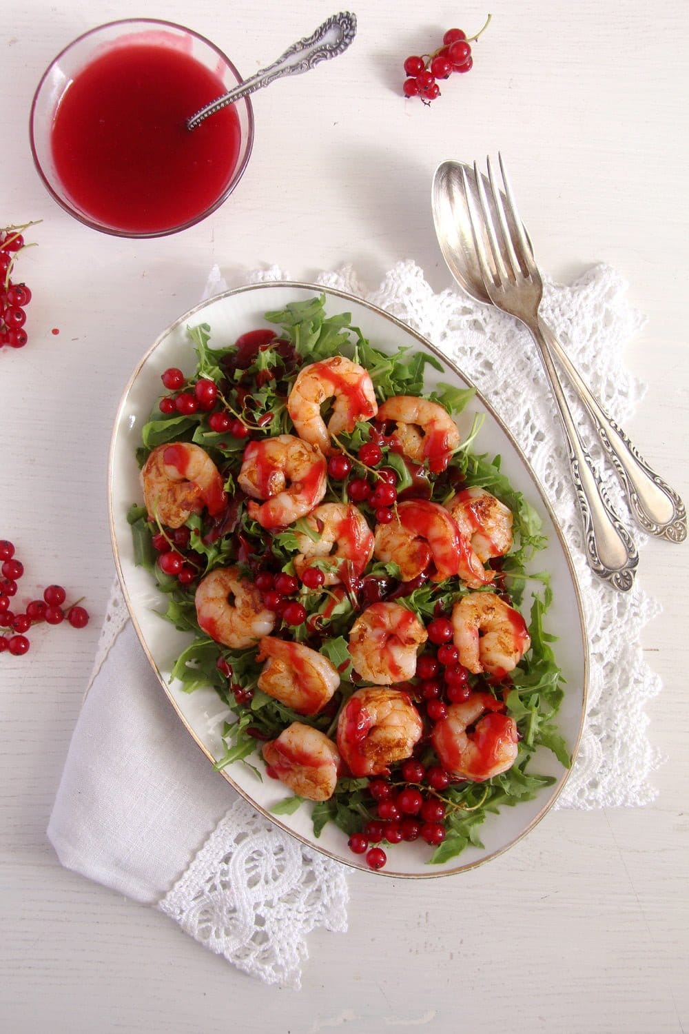 red currant salad Tiger Prawns with Red Currant Sauce