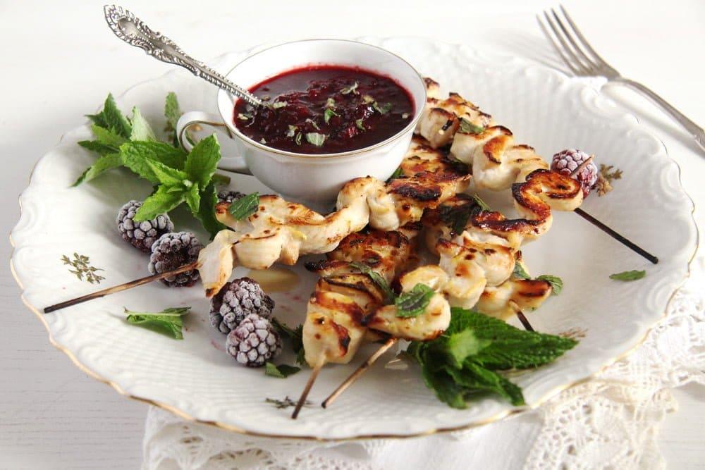 blackberry sauce berries Chicken Skewers with Blackberry Sauce