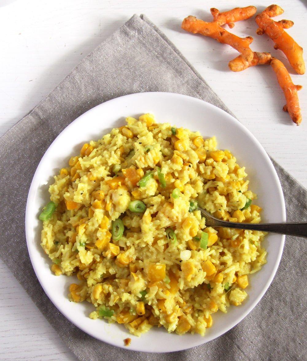 turmeric rice corn Cheesy Turmeric Rice