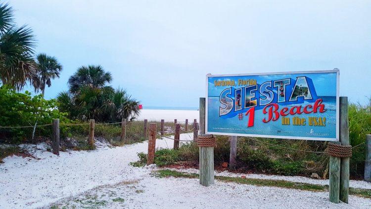 Sarasota county siesta beach sign