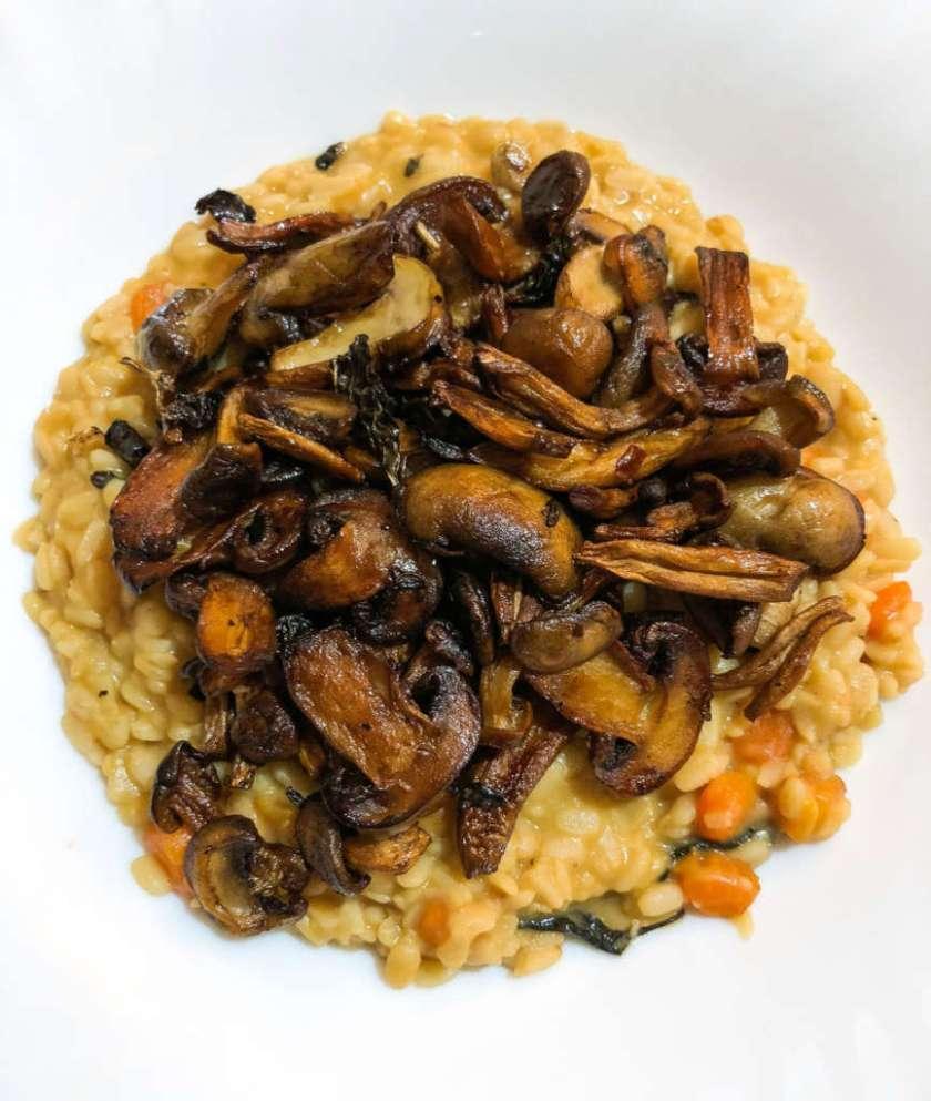Urad Dal Risotto with Basil Carrots and Mushrooms