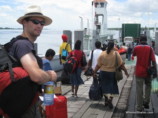 Getting on the ferry to Suriname from guyana