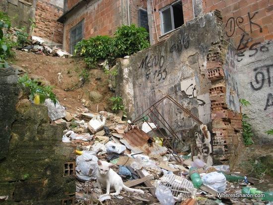 rubbish in Rocinha favela in rio de janeiro
