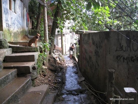 lane way in Rocinha favela in rio de janeiro